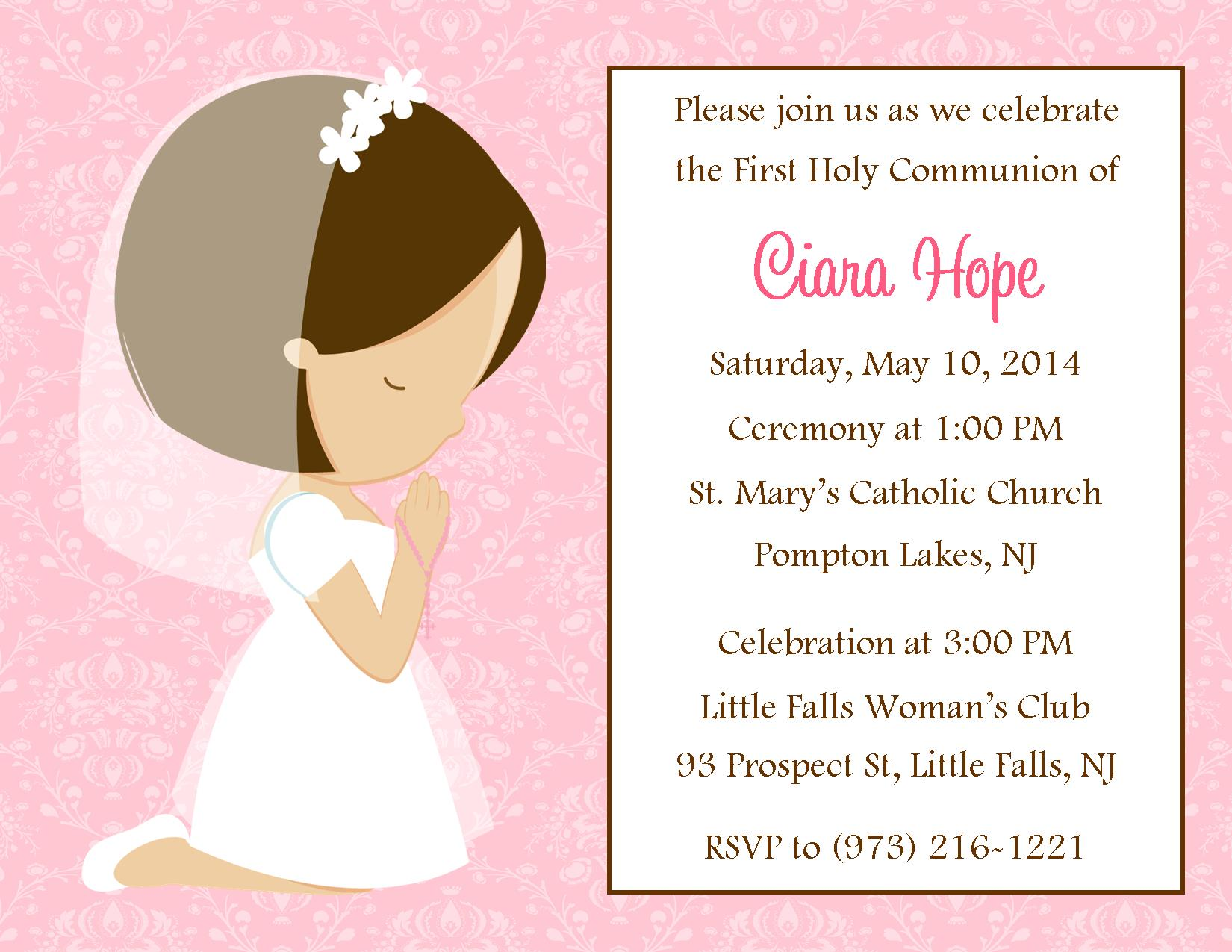 Wording For First Communion Invitations was amazing invitation sample
