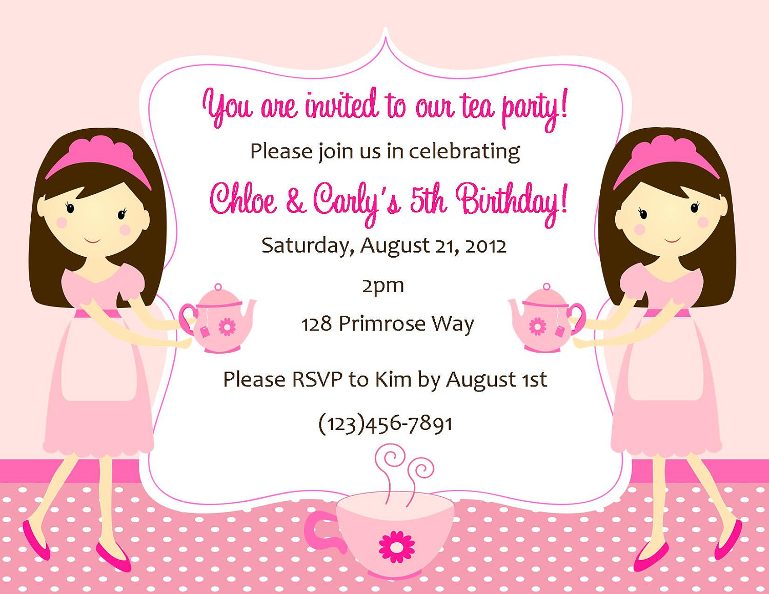 Tea Party Invitation Twins Sweetdesignsbyregan