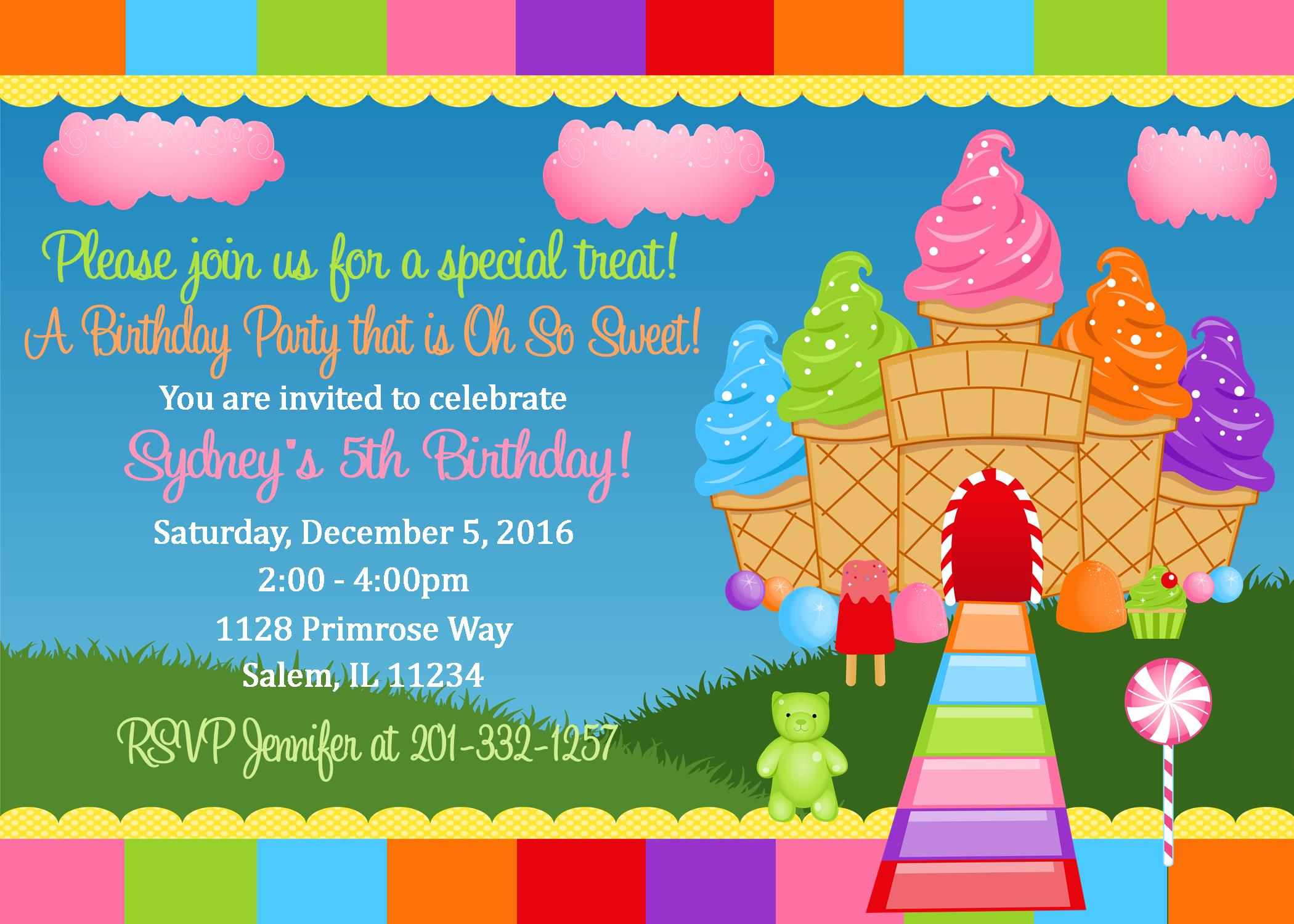 Candyland Birthday Invitation Digital File You Print