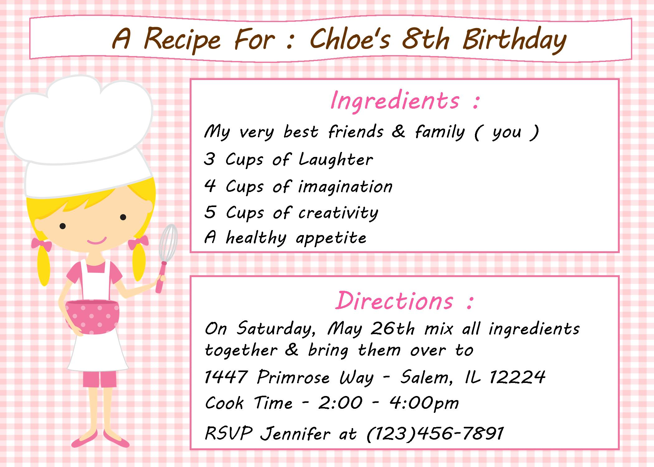 Kids CookingBaking Birthday Party Invitation – Cooking Birthday Party Invitations