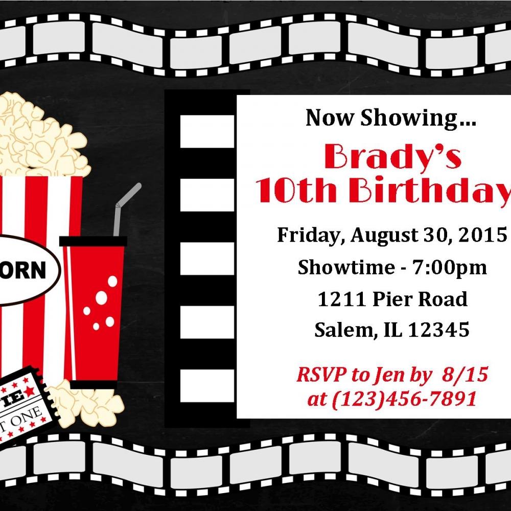 Movie Night Invitation Movie Night Birthday Movie