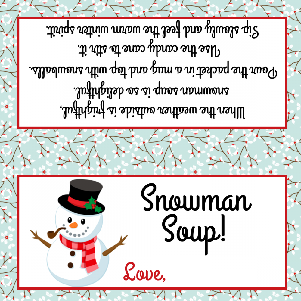 Handy image for snowman soup free printable bag toppers