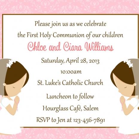 Two Girls First Communion Invitation