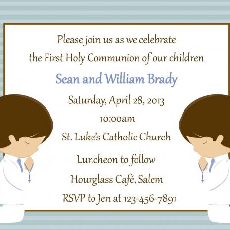 Two Boys First Communion Invitation