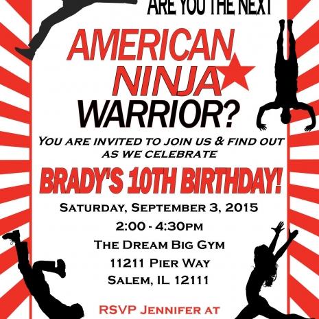 American Ninja Warrior Invitation