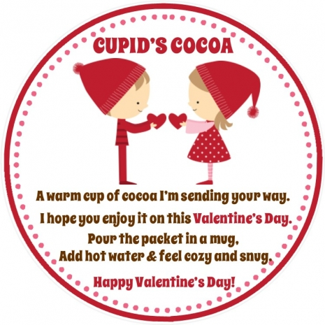 Valentines Day Favor Tag Valentines Day Hot Chocolate