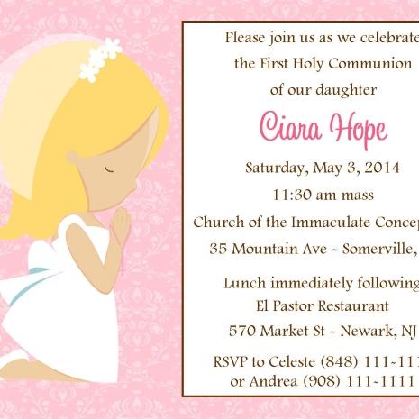 Firsr Communion Invitation Girl