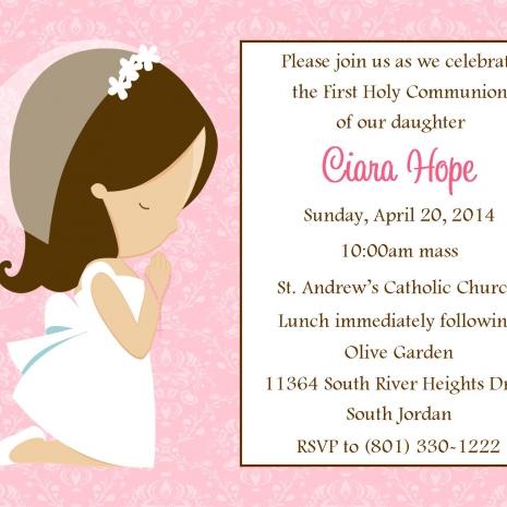 First Communion Invitation Girl Design