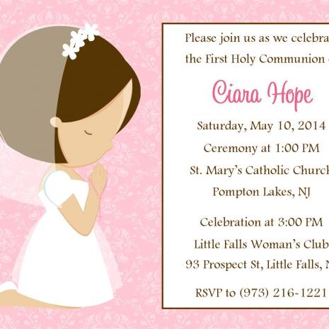 First Communion Invite Girl