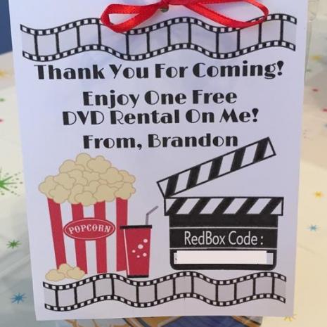 Redbox Birthday Favors