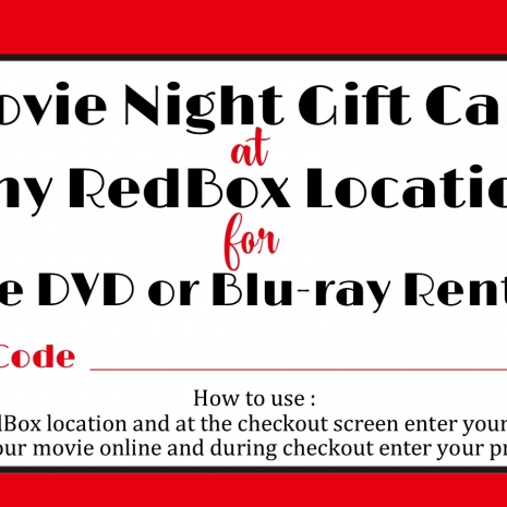 Redbox Printable Movie Tag