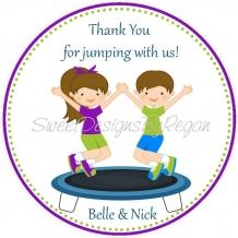 trampoline favor tag, trampoline birthday favor