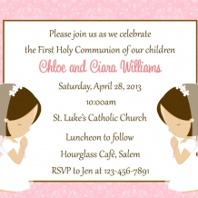 Two Girls First Communion Invitation