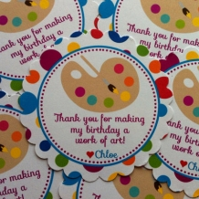 Painting/Art Birthday Party Favor Tags