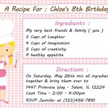 Kid's Baking Birthday Invitation
