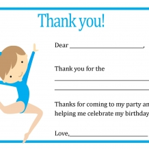 Blue Gymnastic Thank You card