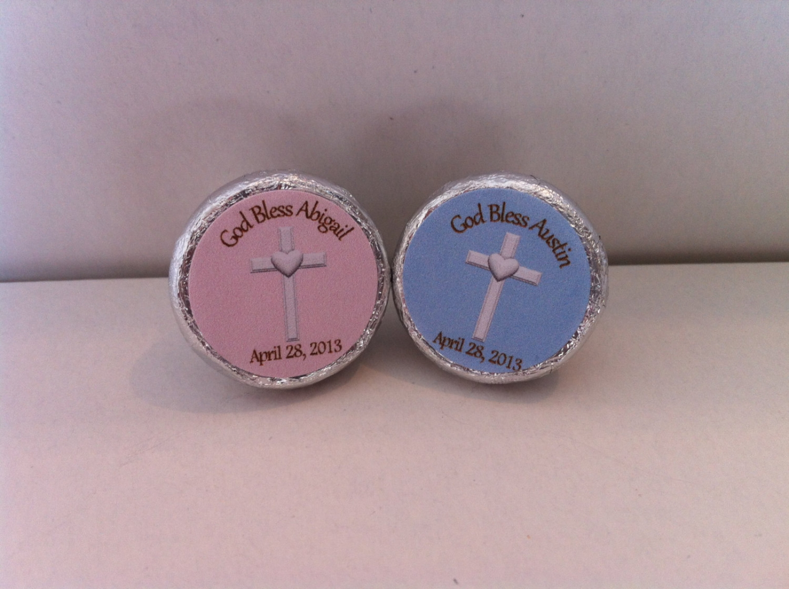 Christening Favors Hershey Kiss Stickers