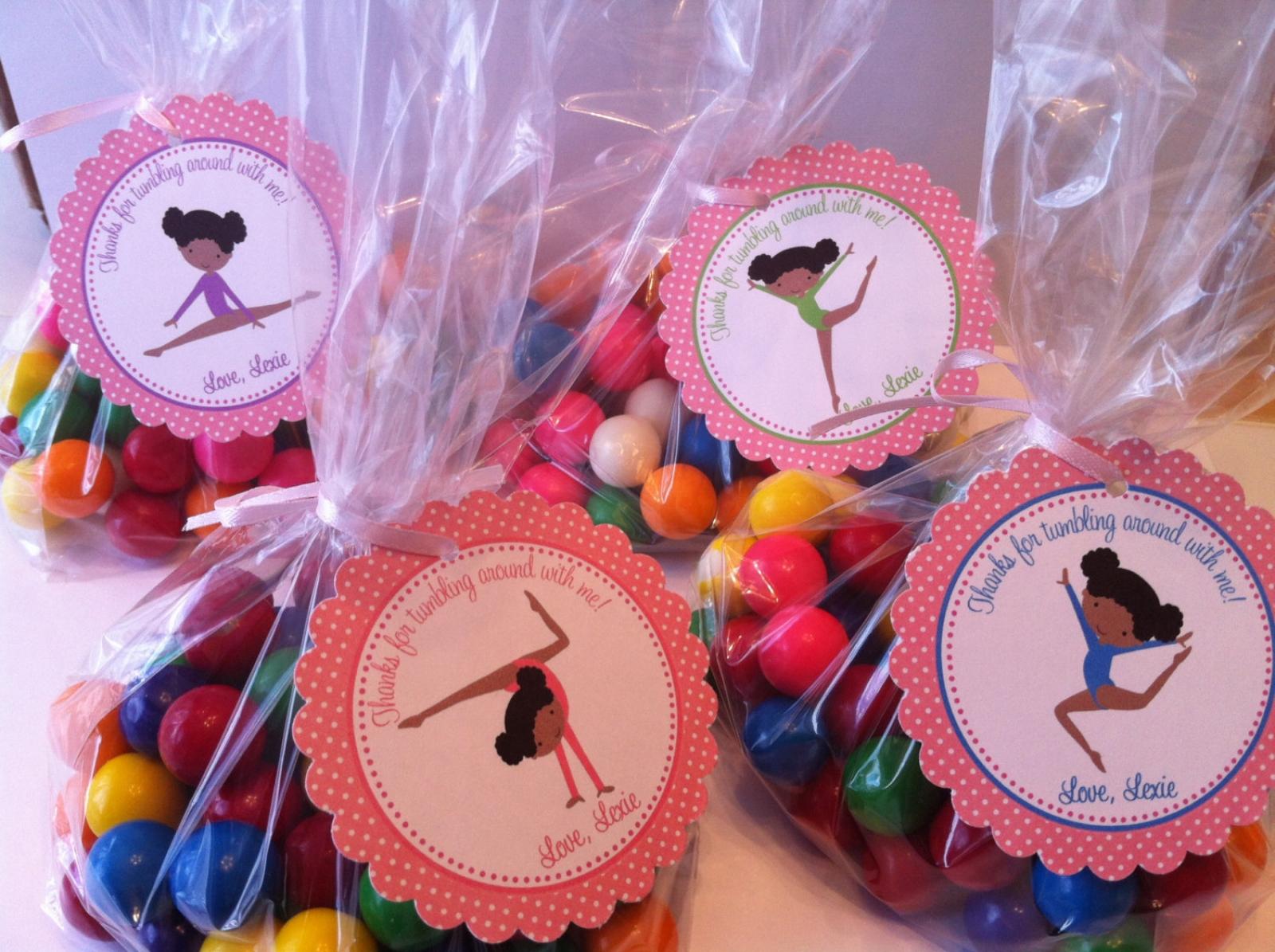 Gymnastics ( African American) Party Favor Bags | sweetdesignsbyregan