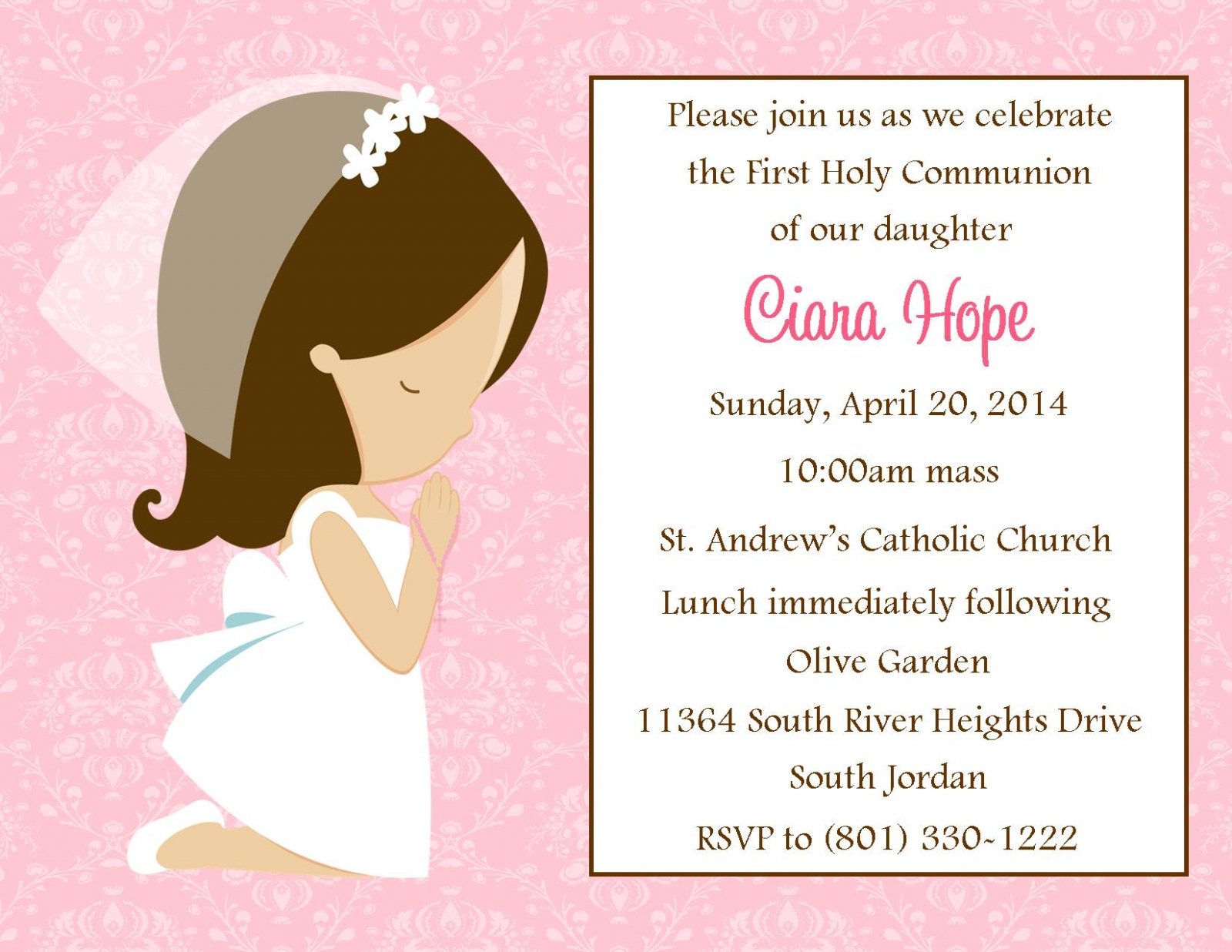 First Communion Invitation Girl Digital File sweetdesignsbyregan