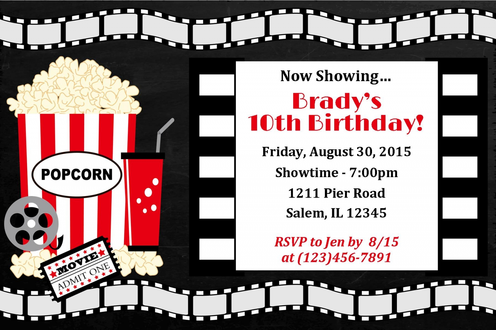 Movie Night Invitation, Movie night birthday, movie ...