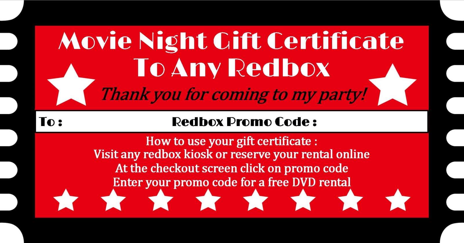 image about Redbox Printable titled Redbox Printable - Birthday Occasion Choose - Electronic History - On your own Print