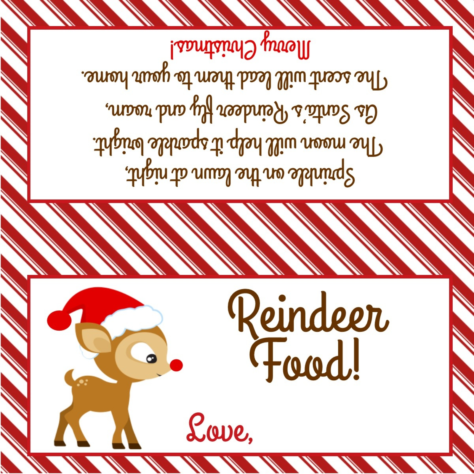 picture relating to Reindeer Food Poem Printable identified as Reindeer Food stuff - Take care of Bag Topper - Electronic Document - Oneself print!
