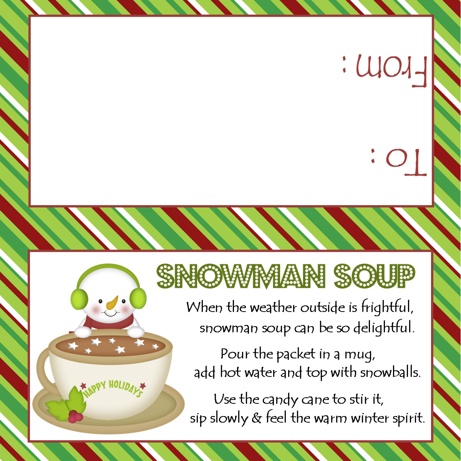 graphic about Snowman Soup Printable named Snowman Soup - Take care of Bag Topper - Electronic Record - On your own print!
