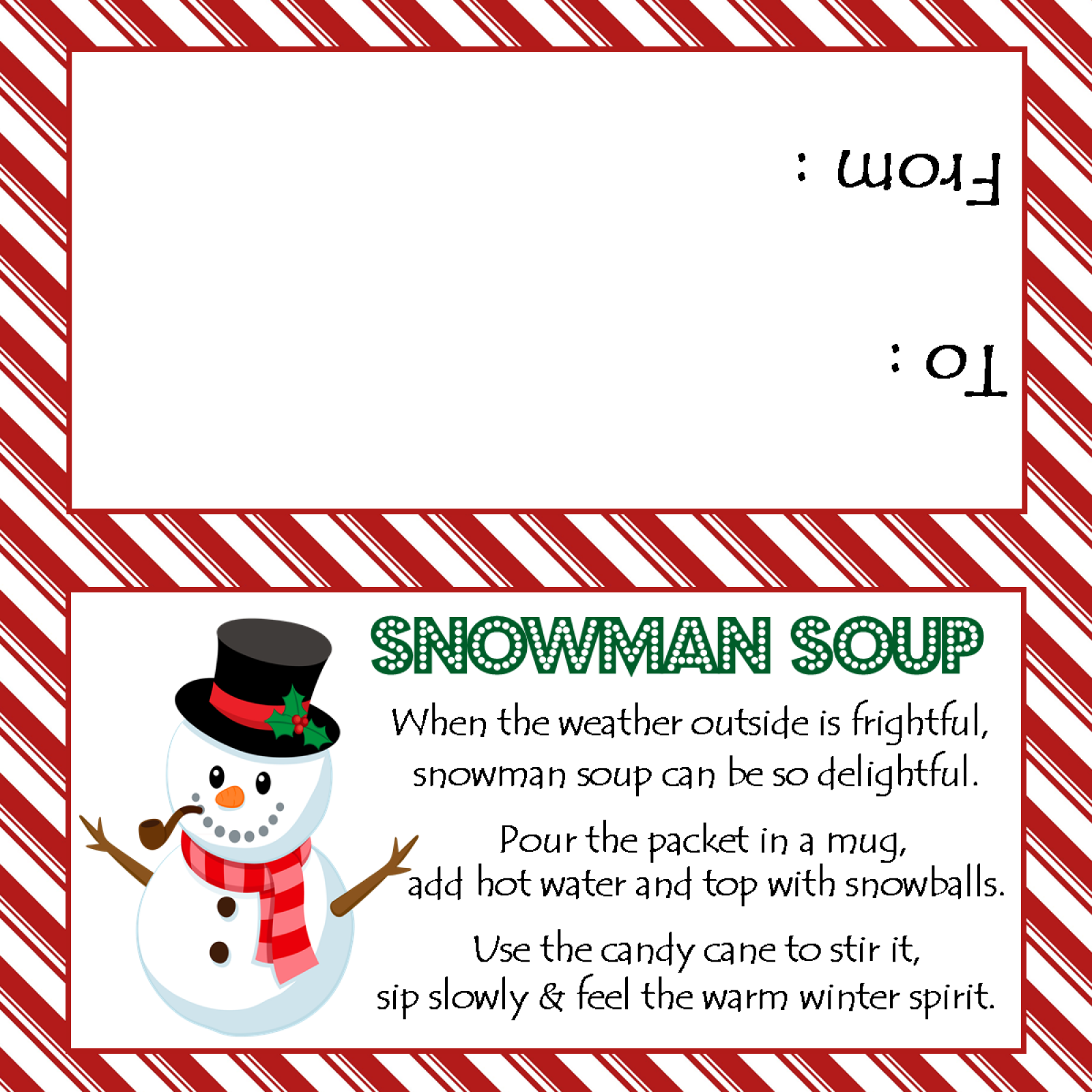 Smart image within snowman soup printable tag