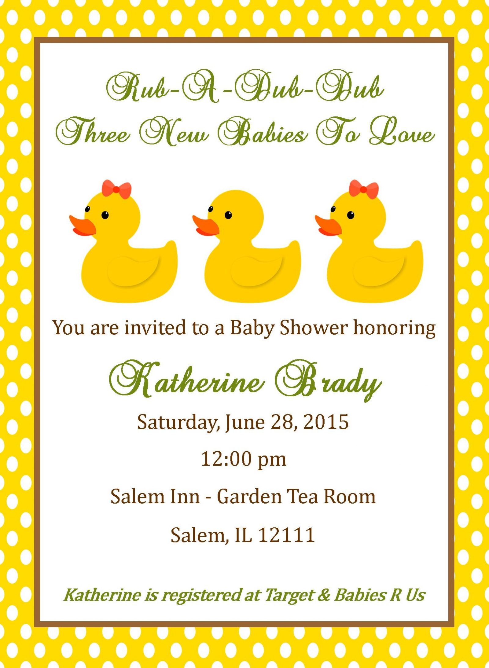 Triplet baby shower invitation duck design digital file triplet shower invitation stopboris Image collections