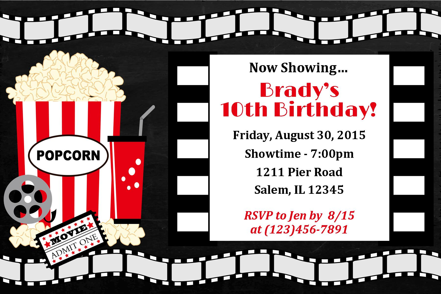 Movie Night Invitation, Movie night birthday, movie birthday invite | sweetdesignsbyregan